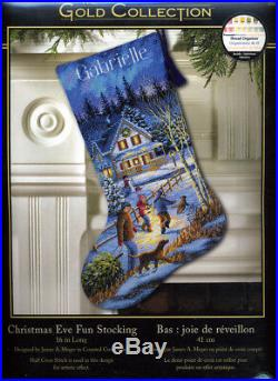Dimensions Gold Collection CHRISTMAS EVE FUN STOCKING Counted Cross Stitch Kit