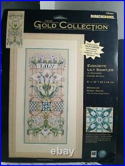 Dimensions Gold Collection Cross Stitch Kit Exquisite Lily Sampler 35064 Unopend