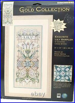 Dimensions Gold Collection Exquisite Lily Sampler Cross Stitch Kit 35064
