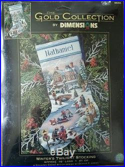 Dimensions Gold Collection WINTER'S TWILIGHT STOCKING Kit 8666 Lewan Sealed