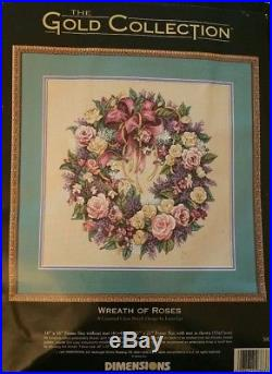Dimensions Gold Collection Wreath of Roses Lena Liu Counted Cross Stitch KIT