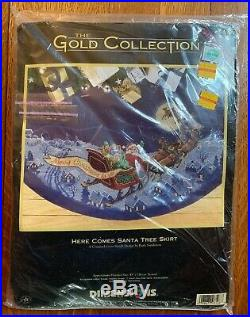 Dimensions Here Comes Santa Tree Skirt Counted Cross Stitch Kit Unopened