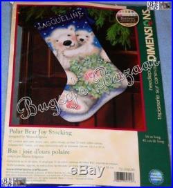 Dimensions POLAR BEAR JOY STOCKING Christmas Needlepoint Kit 9140 Baby, Hugs