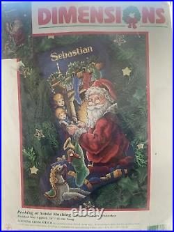 Dimensions Peeking At Santa Counted Cross Stitch Christmas Stocking Kit 8620