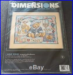 Dimensions Rare cross stitch kit I LOVE TEDDY 3863