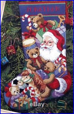 Dimensions Santa's Toys Bears Needlepoint Stocking Kit Christmas 9129
