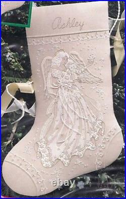 Dimensions Snowflake Dreams Angel Elegant Christmas Crewel Stocking Kit 8079