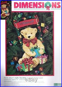 Dimensions Ted E Bears Gifts Christmas Bear Needlepoint Stocking Kit 9119
