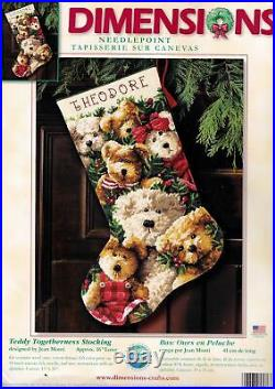 Dimensions Teddy Togetherness Bears Christmas Needlepoint Stocking Kit 9136