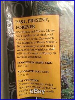 Disney Cross Stitch Kit PAST PRESENT FOREVER Mickey Walt Disney Castle RARE HTF