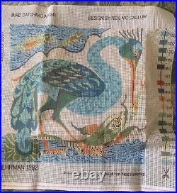 EHRMAN BIRD CATCHING A FISH by Neil McCallum NEEDLEPOINT TAPESTRY KIT vintage