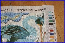 EHRMAN BIRD CATCHING FISH Neil McCallum TAPESTRY NEEDLEPOINT KIT retired vintage