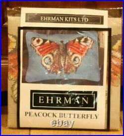 EHRMAN Elian McCready PEACOCK BUTTERFLY blue TAPESTRY NEEDLEPOINT KIT retired