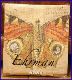 EHRMAN Elian McCready PEACOCK BUTTERFLY taupe TAPESTRY NEEDLEPOINT KIT retired