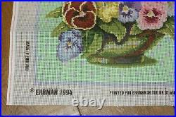 EHRMAN Kaffe Fassett PANSY BOWL (green) NEEDLEPOINT TAPESTRY KIT vintage RARE