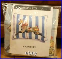 EHRMAN Neil McCallum CAROUSEL vintage NEEDLEPOINT TAPESTRY KIT RARE horse fair
