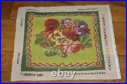 EHRMAN Ribbon Nosegay KAFFE FASSETT rare TAPESTRY NEEDLEPOINT KIT vintage