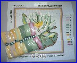 EHRMAN rare WATERLILY (SAND) by KAFFE FASSETT NEEDLEPOINT TAPESTRY KIT