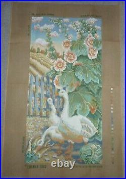 EHRMAN very rare HOLLYHOCKS & GEESE by KAFFE FASSETT TAPESTRY NEEDLEPOINT KIT