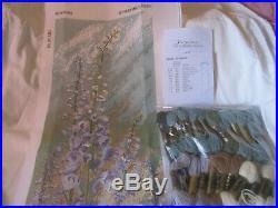 Ehrman Needlepoint Tapestry KIT Cotton/Wool DELPHINIUM PANEL Blockley 42 x 17