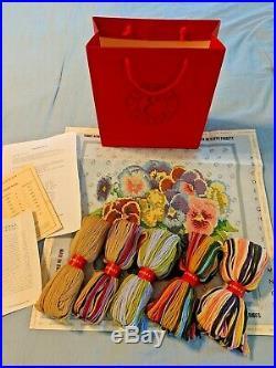 Ehrman Tapestry Kit Pansy Bowl Kaffe Fassett Retired Canvas Yarn Instructions