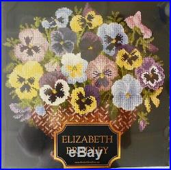 Elizabeth Bradley English Flower Pots Pansy Bowl 16x16 Needlepoint Kit New