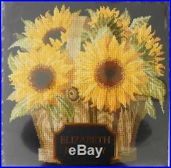 Elizabeth Bradley English Flower Pots Sunflower Basket 16x16 Needlepoint Kit New