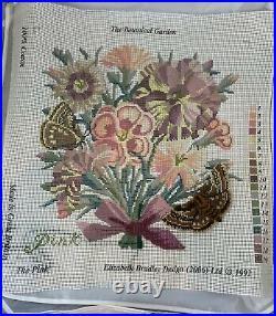 Elizabeth Bradley The Botanical Garden PINK Tapestry Canvas Partial Kit Started