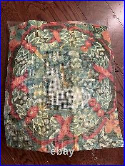 Erica Wilson Design Needlepoint Pillow Kit UNICORN Fruit Flowers MET MMA Opened