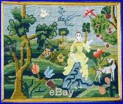 Examplarery Sarah Chamberlain Needlework Picture ca 1765 complete kit