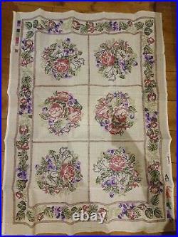 GLORAFILIA tapestry needlepoint kit VICTORIAN ROSES cross stitch carpet rug RARE
