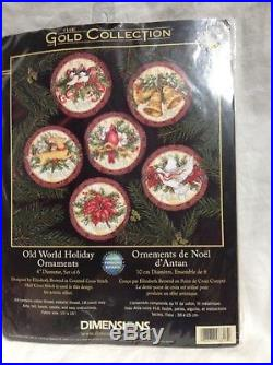 Gold Vtg Dimensions 8813 Old World Holiday Christmas Ornaments Cross Stitch Kit