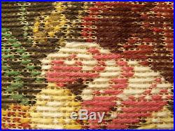 HUGE 29 Vtg Tramme Preworked Needlepoint KIT CanvasGOUGEOUS ROSE Poppy ANTIQUE