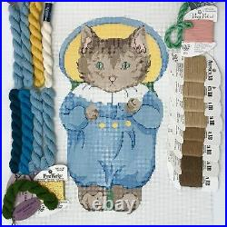 Hand painted needlepoint canvas KIT Silvr Needle Beatrix Potter Tom Kitten doll