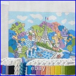 Handpainted Needlepoint canvas KIT Eiffel Tower Paris Sally Corey Designs silks