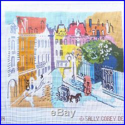 Handpainted Needlepoint canvas Paris Street scene with thread kit Sally Corey