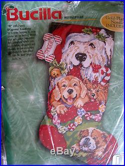 Holiday Bucilla Needlepoint Stocking Kit, PUPPIES FOR CHRISTMAS, Gillum, 60770,18