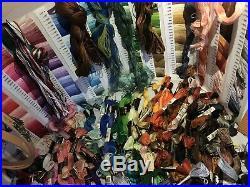 Huge Lot DMC Embroidery Floss Skeins Cross Stitch Crewel Ks Lap Frame Kits