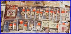 Huge Lot Of Needlecraft Kits, Needlepoint Cross Stitch Embroidery Aida Threads