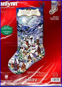 Janlynn Christmas Village Snowy Victorian Town Needlepoint Stocking Kit 023-0212