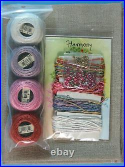 Just Nan Harmony Sampler & OOP Monogram Tin w Linens, Fibers, Embellish, Finish