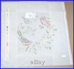 Lee's Five Birds with Robin Handpainted Needlepoint Canvas Kit Wool Yarn & SG