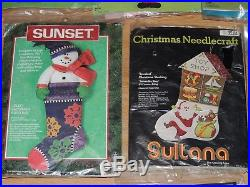 Lot Of 16 Felt Jeweled Applique Kits Stocking Ornaments Panels Bucilla Dimension