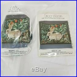 Lot of 2 Erica Wilson Rabbit Needlepoint Kits Metropolitan Museum Started