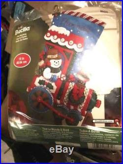 Lot of 9 Bucilla Felt Stocking Kits NIP