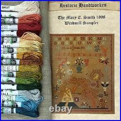 Mary E. Smith Windmill 1898 Kit Historic Handwerks reproduction sampler silks
