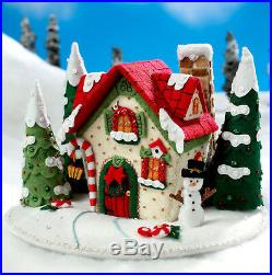 Mary's Snow Cottage Bucilla Felt Christmas 3D Centerpiece Kit #86162