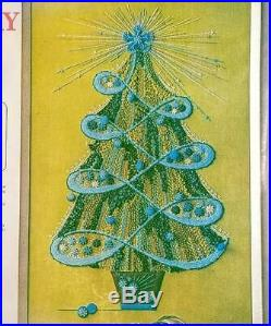 Mid Century Holiday Tree Crewel Kit New in Bag Teal Green Christmas Paragon