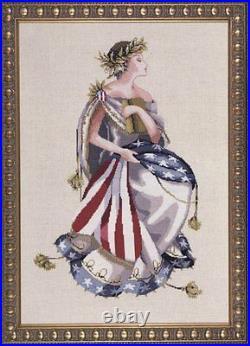 Mirabilia Cross Stitch MD64 Queen of Freedom chart, Beads, Linen, kreiniks kit