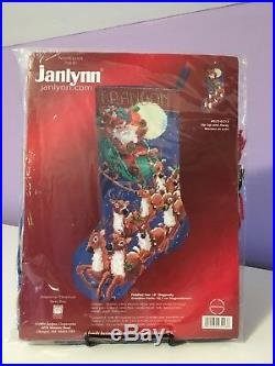 NEW 2004 JanLynn Needlepoint Kit Up Up and Away Christmas Stocking #023-0213